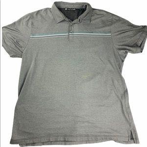 Travis Mathew Men's Gray Striped Golf Polo Shirt
